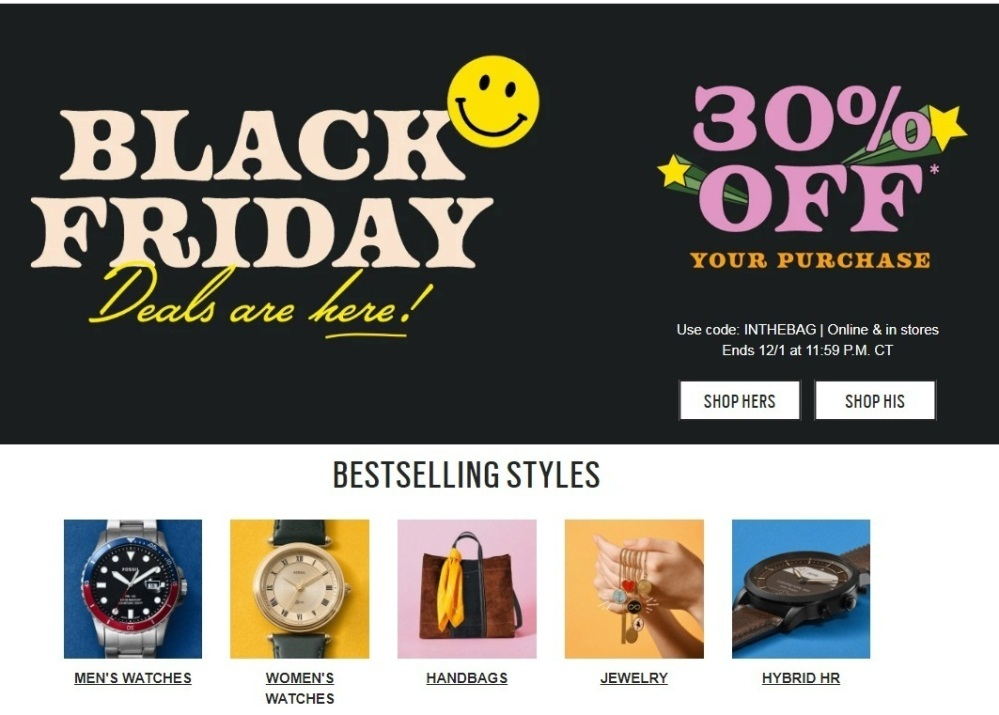 Fossil Black Friday Ads
