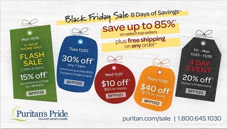 Puritan's Pride Black Friday Ads